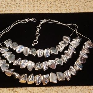 Jewelry - Three strand hollow silver nugget necklace